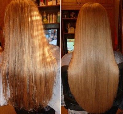 Результат ламинирования волос желатином
